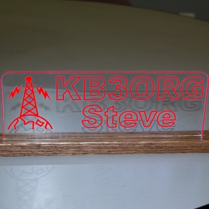 Personalized Laser Etched Edge Lit Amateur Radio Sign